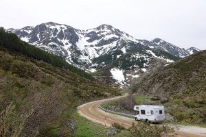 Motorhome traveling in the mountains